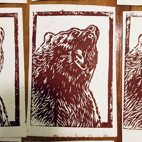 Lino Print of The Bear